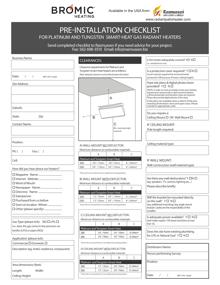 Installation Checklist for Platinum and Tungsten