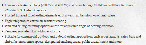 Bromic Tungsten Electric Heaters