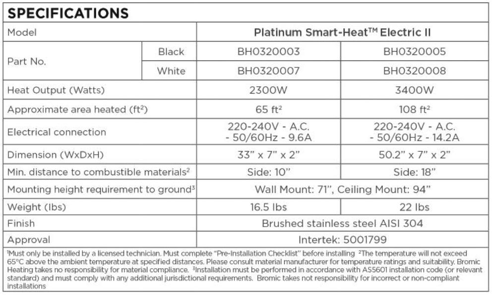 Bromic Platinum Electric Specs